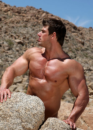 Zeb Atlas posing naked in a desert