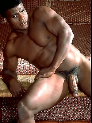 Big black muscle man shows his cock